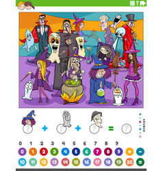 Count and add game with comic halloween characters vector