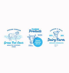 Cow farm dairy logo templates set abstract vector