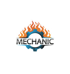 creative blue gear fire logo design vector image