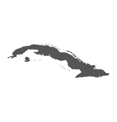 cuba map black icon on white background vector image