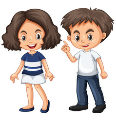 Cute boy and girl with happy face vector