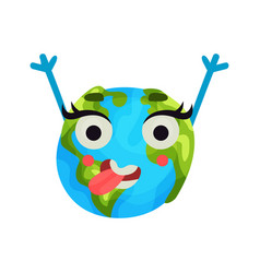 cute cartoon happy earth planet emoji raising vector image