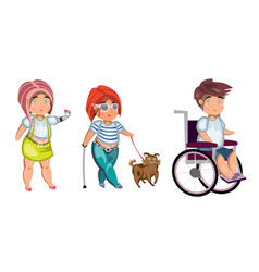 disabled people isolated vector image