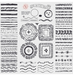 Doodle artistic pattern brusheswreathframeblack vector