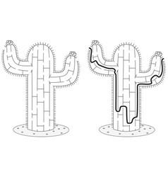Easy cactus maze vector