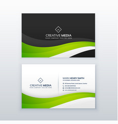 Elegant green wave business card design vector
