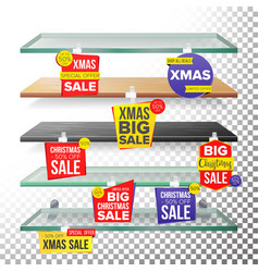 Empty supermarket shelves holidays christmas sale vector