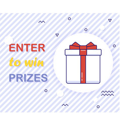 Enter to win prizes gift box vector