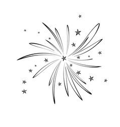 Firework stars doodle black icon hand drawn vector