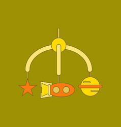 Flat icon on background kids toy mobility vector