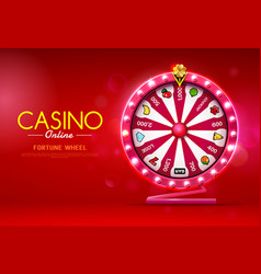 fortune wheel spinning casino online on bokeh vector image