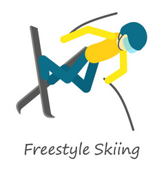 Freestyle skiing icon isometric style vector