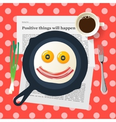 Funny breakfast smiling face make with fried eggs vector