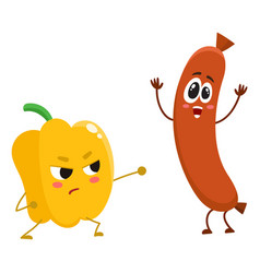 funny food characters pepper versus sausage vector image
