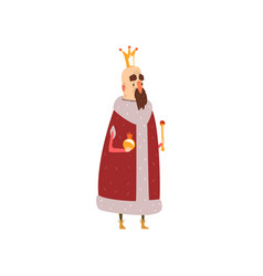 Funny mald king character in red mantle holding vector