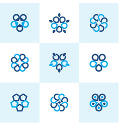 geometric abstract round flower vector image