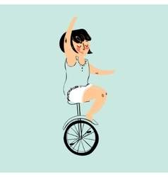 Girl is riding bike vector image