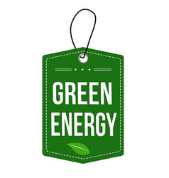 Green energy label or price tag vector