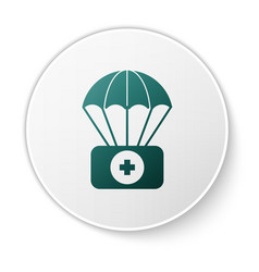 Green parachute with first aid kit icon isolated vector