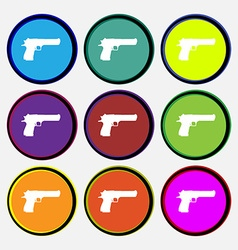 Gun icon sign Nine multi colored round buttons vector