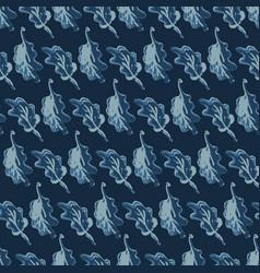 hand drawn leaves indigo pattern seamless vector image