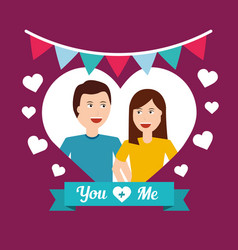 Happy couple inside heart love romantic valentine vector