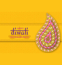 happy diwali yellow template with floral paisley vector image