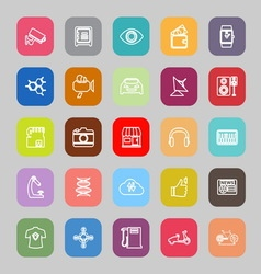 Hitechnology line flat icons vector image