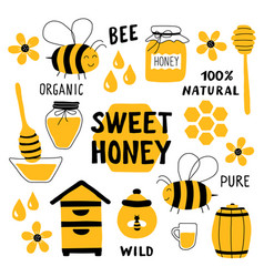 Honey funny doodle set beekeeping apiculture vector