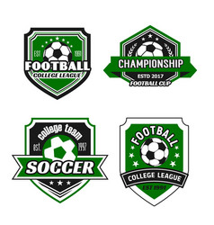 icons for soccer college team championship vector image