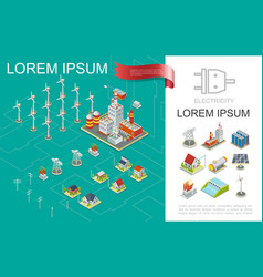 isometric electricity production composition vector image