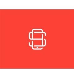 Letter S logo design Smartphone lined symbol vector