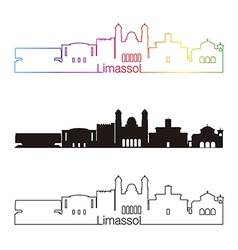Limassol skyline linear style with rainbow vector image