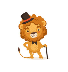 lion cartoon character with black vector image