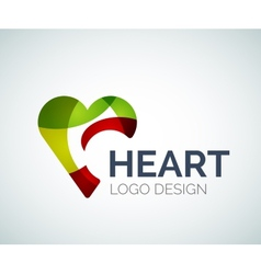 Love heart like logo made of color pieces vector image