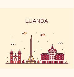 Luanda skyline angola city linear style vector