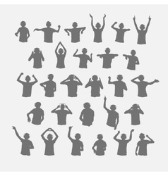 Male dj silhouettes wearing headphones vector image