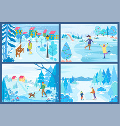 man and woman activity in winter snowy park vector image