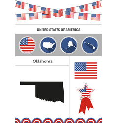 map of oklahoma set of flat design icons vector image