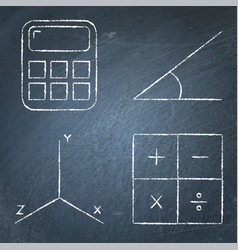 mathematics science icons set in line style vector image