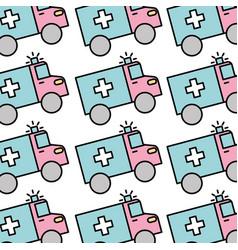 medical ambulance vehicle seamless pattern image vector image
