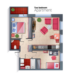 Modern two bedroom apartment top view vector