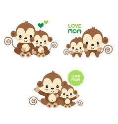 Mom and bamonkey vector