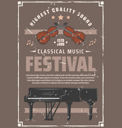 music festival retro poster with piano and violin vector image