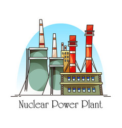 nuclear power plant building with cooling towers vector image