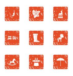 originality gift icons set grunge style vector image