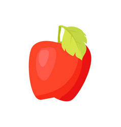 Pastel cartoon red apple fruit with green leaf vector