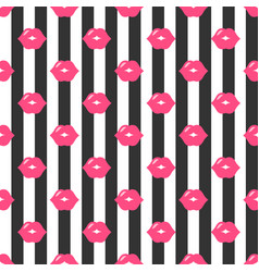 pattern with red lips and black stripes vector image