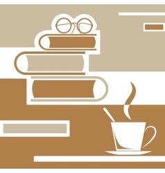Reading books with coffee vector