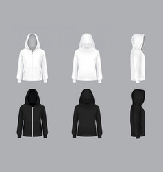 Realistic white and black hoodie models vector